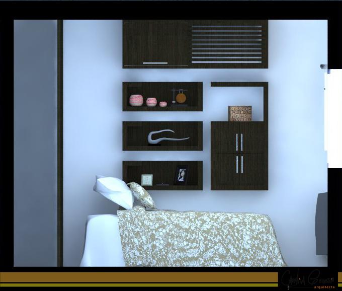 Sector descanso. Sobre el lado donde se colocó la cama, se previeron estantes que pudieran ser utilizados como mesa de noche, también se incluyó más espacio de almacenaje y se disimuló la existencia del equipo de aire acondicionado con la misma materialidad del mobiliario.